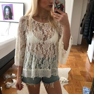 LF sheer lace white top with fringe detail
